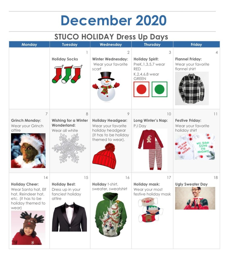 STUCO Christmas Dress Up Spirit Days